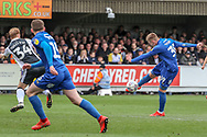 AFC Wimbledon striker Joe Pigott (39) hitting the post during the EFL Sky Bet League 1 match between AFC Wimbledon and Gillingham at the Cherry Red Records Stadium, Kingston, England on 23 March 2019.