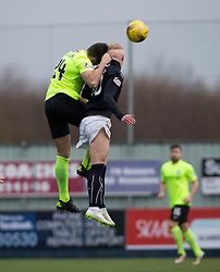 Hibernian's Darren McGregor and Falkirk's Craig Sibbald. Falkirk 1 v 2 Hibernian, Scottish Championship game played 31/12/2016 at The Falkirk Stadium .