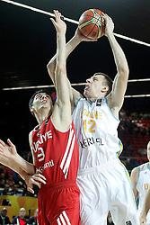 02.09.2014, City Arena, Bilbao, ESP, FIBA WM, Ukraine vs Türkei, im Bild Ukraine's Maxym Kornienko (r) and Turkey's Emir Preldzic // during FIBA Basketball World Cup Spain 2014 match between Ukraine and Turkey at the City Arena in Bilbao, Spain on 2014/09/02. EXPA Pictures © 2014, PhotoCredit: EXPA/ Alterphotos/ Acero<br /> <br /> *****ATTENTION - OUT of ESP, SUI*****