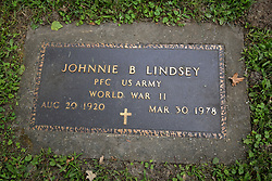 26 August 2017:   A part of the History of McLean County Illinois.<br /> <br /> Tombstones in Evergreen Memorial Cemetery.  Civic leaders, soldiers, and other prominent people are featured.<br /> <br /> Section 16 - Veterans Section<br /> Johnnie B Lindsey<br /> Private First Class US Army<br /> Aug 20, 1920<br /> Mar 30, 1978