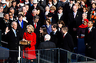 Vice President Joe Biden and his wife  Dr. Jill Biden takes the oath of office at the swearing in ceremony during the Inauguration on January 20, 2009.  Photograph:  Dennis Brack