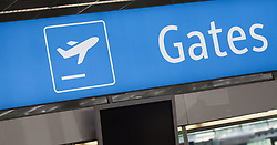 THEMENBILD - ein Gates Schlid am Flughafen Innsbruck, Österreich, aufgenommen am 09.07.2015 // a Gates sign at Innsbruck Airport, Austria on 2015/07/09. EXPA Pictures © 2015, PhotoCredit: EXPA/ Jakob Gruber