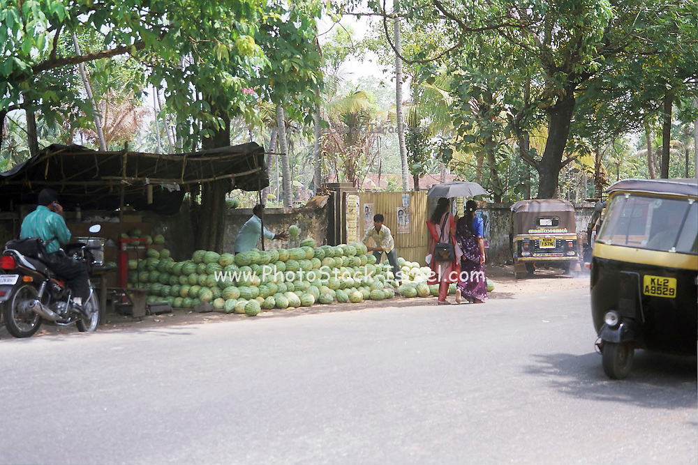 a Fruit stall in the street, India, Kerala, a state on the tropical coast of south west India