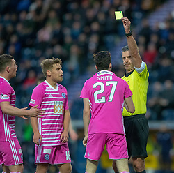 Ref Greig Aitken books Ayr United's Liam Smith for diving. Falkirk 0 v 1 Ayr United, Scottish Championship game played 3/11/2018 at The Falkirk Stadium.