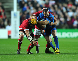 Jamie Cudmore of Canada and Richard Thorpe of Canada tackle Scott Spedding of France  - Mandatory byline: Joe Meredith/JMP - 07966386802 - 01/10/2015 - Rugby Union, World Cup - Stadium:MK -Milton Keynes,England - France v Canada - Rugby World Cup 2015