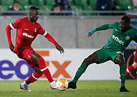 RAZGRAD, BULGARIA - OCTOBER 22: Martin Hongla of Antwerp in action against the opposite player during the UEFA Europa League Group J stage match between PFC Ludogorets Razgrad and Royal Antwerp at Ludogorets Arena on October 22, 2020 in Razgrad, Bulgaria. (Photo by Nikola Krstic/MB Media)