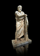 Roman marble sculpture of Homer from the rectangular peristyle of the Villa of the Papyri in Herculaneum, Naples Museum of Archaeology, Italy ..<br /> <br /> If you prefer to buy from our ALAMY STOCK LIBRARY page at https://www.alamy.com/portfolio/paul-williams-funkystock/greco-roman-sculptures.html . Type -    Naples    - into LOWER SEARCH WITHIN GALLERY box - Refine search by adding a subject, place, background colour, etc.<br /> <br /> Visit our ROMAN WORLD PHOTO COLLECTIONS for more photos to download or buy as wall art prints https://funkystock.photoshelter.com/gallery-collection/The-Romans-Art-Artefacts-Antiquities-Historic-Sites-Pictures-Images/C0000r2uLJJo9_s0