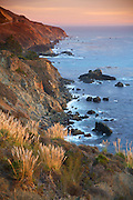Sunset on Bluffs along the Pacific Coast in Big Sur California