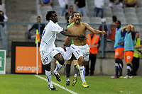 FOOTBALL - FRENCH CHAMPIONSHIP 2010/2011 - L1 - AJ AUXERRE v MONTPELLIER HSC - 7/05/2011 - PHOTO JEAN MARIE HERVIO / DPPI - JOY ROY CONTOUT (AJA) AFTER HIS GOAL