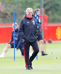 Manchester United manager Jose Mourinho during a training session at the AON Training Complex, Carrington.