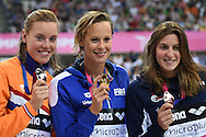 Italy's  Frederica Pellegrini (c) takes Gold, Nederland's Femke Heemskerk takes the silver (L) and France's Charlotte Bonnet takes bronze in the 200m Freestyle  during Day 13 of the 2016 LEN European Aquatics Championship Swimming Finals at the London Aquatics Centre, London, United Kingdom on 21 May 2016. Photo by Martin Cole.