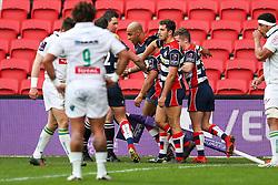 Tom Varndell of Bristol Rugby celebrates scoring a try - Rogan Thomson/JMP - 11/12/2016 - RUGBY UNION - Ashton Gate Stadium - Bristol, England - Bristol Rugby v Pau - European Rugby Challenge Cup.