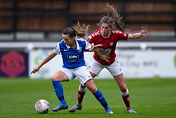 Harriet Scott of Birmingham City Women is marked by Emma Bissell of Bristol City Women - Mandatory by-line: Ryan Hiscott/JMP - 18/10/2020 - FOOTBALL - Twerton Park - Bath, England - Bristol City Women v Birmingham City Women - Barclays FA Women's Super League