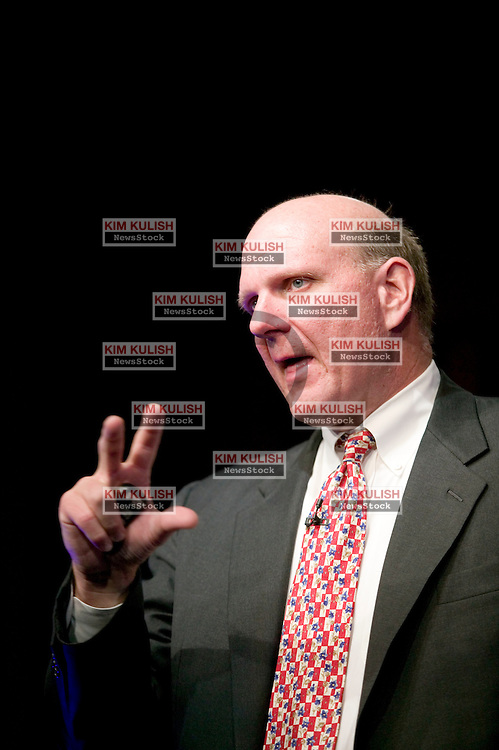 Microsoft CEO Steve Ballmer describes new software features to the press during a Windows Vista Launch Event at the NASDAQ Market Site in Times Square, -Photo by Kim Kulish