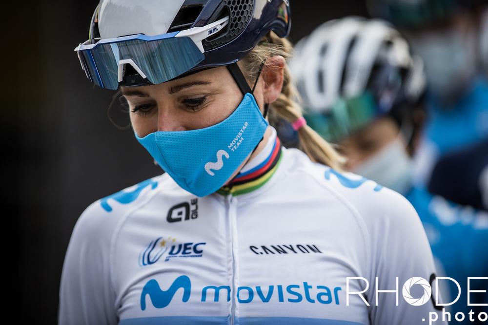Annemiek Van Vleuten (NED/Movistar) at the pre race team presentation<br /> <br /> 24th la Flèche Wallonne Féminin 2021 (1.UWT)<br /> 1 Day Race: Huy – Huy 130,5km<br /> <br /> ©RhodePhoto