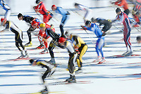NEWS&GUIDE PHOTO / BRADLY J. BONER.Moose Chase competitors gather momentum at the start of the 25k race Saturday at Teton Village. More than 200 nordic skiers of all ages turned out for the three race classes of the event.
