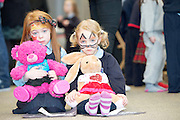 23/01/2014  Sarah Doherty and PINK, Aideen Burns with Pokadot from Ballinderry NS  at Teddy Bear Hospital at NUI, Galway where Medical Students got used to dealing with Children and Kids get used to the Hospital procedures. Photo:Andrew Downes.