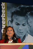 28 August 2006: Carla Overbeck during her Hall of Fame induction speech. The National Soccer Hall of Fame Induction Ceremony was held at the National Soccer Hall of Fame in Oneonta, New York.