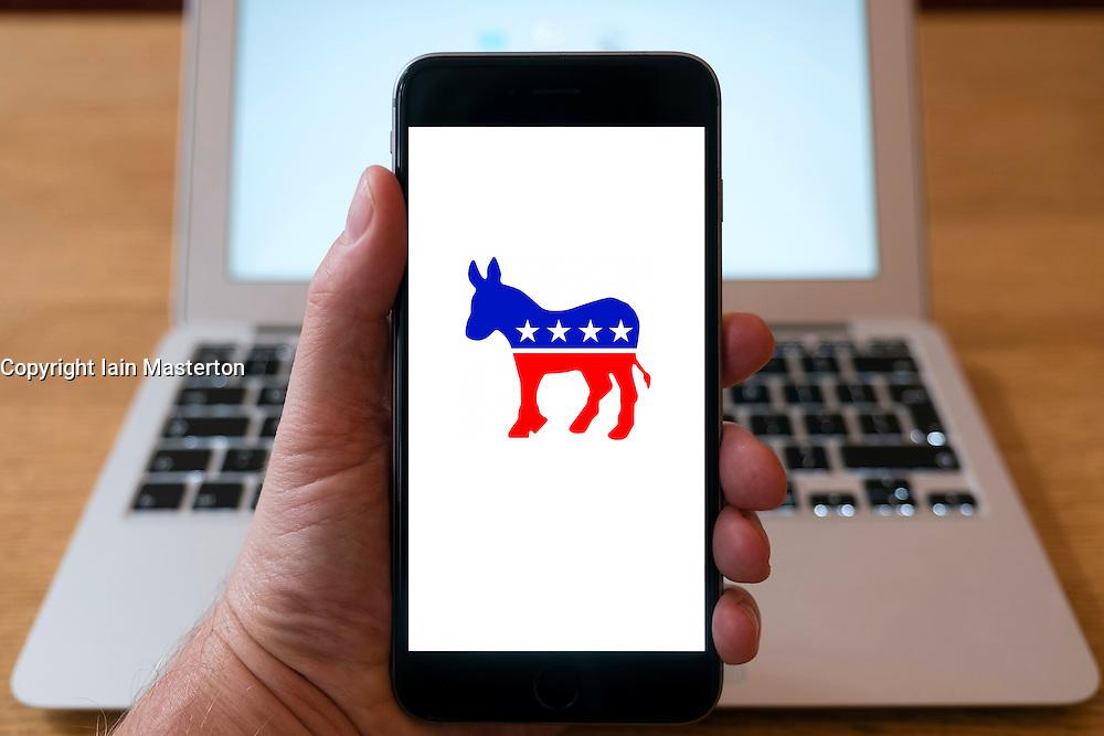 US Democratic Party logo on smart phone screen.