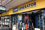 Cash Generator shop in Kings Heath, Birmingham, United Kingdom. Cash Generator is a British based national pawn broker. The company describes itself as The Buy, Sell & Loan Store. Its core business is the buying and selling of second hand goods, mainly electrical and entertainment products.