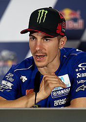May 3, 2018 - Jerez De La Frontera, Cadiz, Spain - 25 Maverick Viales (Spanish) Movistar Yamaha MotoGP in the press conference before of the Gran Premio Red Bull of Spain, Circuit of Jerez - Angel Nieto, Jerez de la Frontera, Spain. Thursday, 03rd May, 2018. (Credit Image: © Jose Breton/NurPhoto via ZUMA Press)