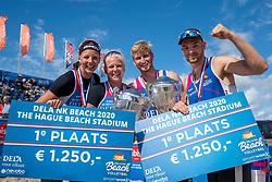 Katja Stam, Raïsa Schoon, Jasper Bouter en Ruben Penninga win the gold medal matches. The Final Day of the DELA NK Beach volleyball for men and women will be played in The Hague Beach Stadium on the beach of Scheveningen on 23 July 2020 in Zaandam.