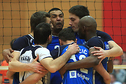 Team Salonit (in the middle Dos Santos Israel) at finals of Slovenian volleyball cup between OK ACH Volley and OK Salonit Anhovo Kanal, on December 27, 2008, in Nova Gorica, Slovenia. ACH Volley won 3:2.(Photo by Vid Ponikvar / SportIda).