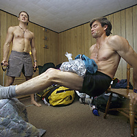 BAFFIN ISLAND, Alex Lowe & Jared Ogden work out in Clyde River, en route to big wall climbing expedition.