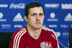 March 26, 2018 - Saint Petersburg, Russia - March 26, 2018. - Russia, Saint Petersburg. - Russian national football team goalkeeper Andrey Lunev at a press conference prior to a friendly match against France. (Credit Image: © Russian Look via ZUMA Wire)