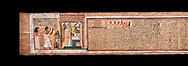 Ancient Egyptian Book of the Dead papyrus - From  tomb of Kha & Merit, Theban Tomb 8 , mid-18th dynasty (1550 to 1292 BC), Turin Egyptian Museum.  Black background .<br /> <br /> If you prefer to buy from our ALAMY PHOTO LIBRARY  Collection visit : https://www.alamy.com/portfolio/paul-williams-funkystock/ancient-egyptian-art-artefacts.html  . Type -   Turin   - into the LOWER SEARCH WITHIN GALLERY box. Refine search by adding background colour, subject etc<br /> <br /> Visit our ANCIENT WORLD PHOTO COLLECTIONS for more photos to download or buy as wall art prints https://funkystock.photoshelter.com/gallery-collection/Ancient-World-Art-Antiquities-Historic-Sites-Pictures-Images-of/C00006u26yqSkDOM