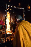 Fire ceremony at Ekoin in Koya-san. Goma taki involves burning wooden plaques with prayers written on them as monks chant. Guests are asked to write their wishes on wooden plaques to be burned in the fire to burn away  excess desires; and to achieve a simple life. Fire destroys negative energies and purifies the mind, body and spirit. The fire burning ceremony is unique to the Shingon sect of Buddhism.