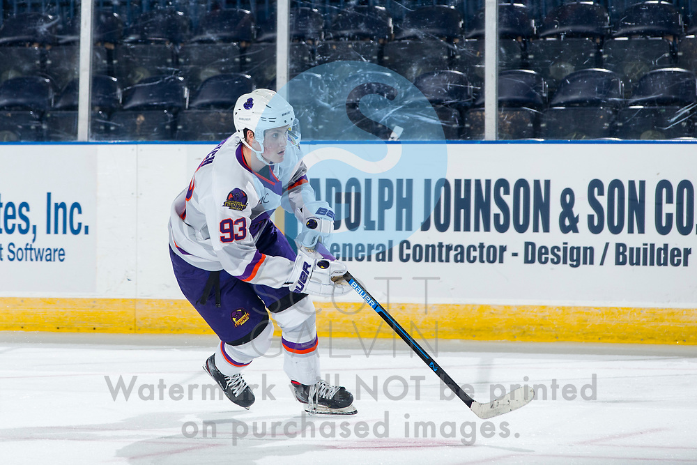 Youngstown Phantoms defeat the Muskegon Lumberjacks 4-3 in overtime at the Covelli Centre on December 5, 2020.<br /> <br /> Cole Burtch, forward, 93