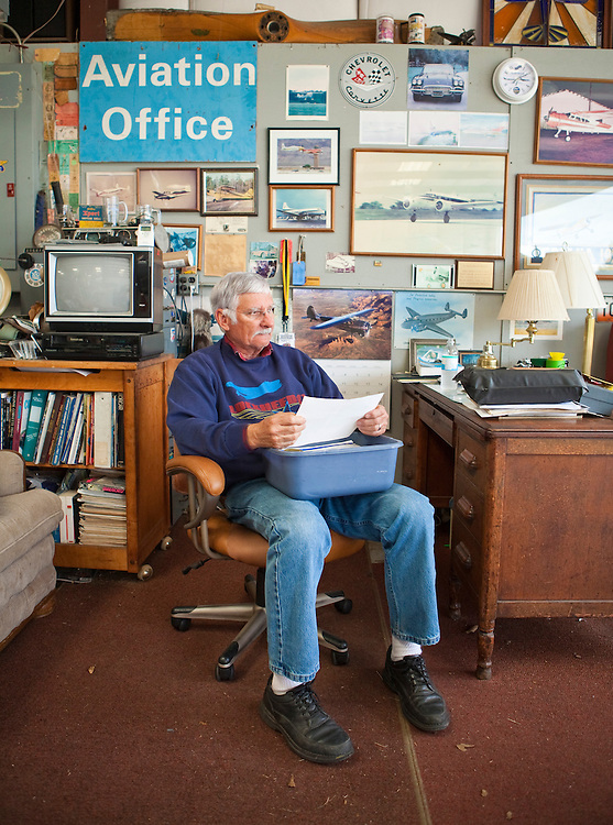 "Joe Shepherd, a retired Northwest Airlines pilot, in his ""Aviation Office""."