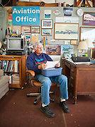 "Joe Shepherd, a retired Northwest Airlines pilot, in his ""Aviation Office""."