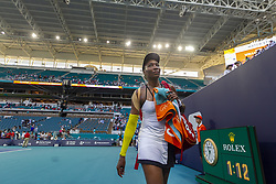 March 25, 2019 - Miami Gardens, FL, USA - Serena Williams, of the United States, leaves the stadium after losing her match to Simona Halep, of Romania, at the Miami Open tennis tournament on Monday, March 25, 2019 at Hard Rock Stadium in Miami Gardens, Fla. (Credit Image: © Matias J. Ocner/Miami Herald/TNS via ZUMA Wire)