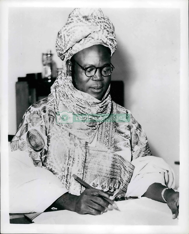 1966 - Abubakar Tafawa Balewa New African Prime Minister Under a new constitution set up with the cooperation of the British Government, Northern Nigeria has just elected its first Prime Minister, Ahmadu Sardauna of Sokoto. The rank of Sardauna is a historical one, held only by a son of the Royal House of Sokoto. The 45-year-old Prime Minister is the descendant of a long line of hereditary rulers. He is a Moslem and his cousin, the Sultan of Sokoto, is spiritual leader of Northern Nigeria 11½ million Moslems. Picture shows: The Hon. Ahmadu, Northern Nigeria s first Prime Minister. (Credit Image: © Keystone Pictures USA/ZUMAPRESS.com)