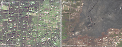 September 28, 2018 - Leilani Estates, Hawaii, U.S. - A close up comparison of the fissure 8 area in Leilani Estates subdivision. Leilani Avenue runs right-left (east-west) through the center of the images. On the right side, the crater within the fissure 8 cone is visible. The fissure 8 lava channel extends north from the cone. For a map of the 2018 lower East Rift Zone eruption fissures and surrounding area. (Credit Image: © USGS via ZUMA Wire/ZUMAPRESS.com)