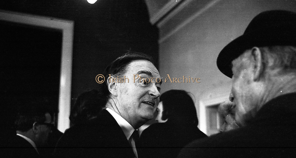 Mr Liam Cosgrave,Leader of Fine Gael,at Vote Count. (E48).1973..01.03.1971..03.01.1973..1st March 1973..As the ballot boxes were opened in Dun Laoghaire Town Hall, Mr Cosgrave and his supporters watched as the voting papers were piled high. The vote was as the result of an often hectic General Election campaign. Mr Cosgrave was hoping his party would garner enough votes to oust the sitting Fianna Fail Government which had held power for sixteen years...Image of a buoyant Mr Cosgrave as he hears that he has topped the poll in his constituency.