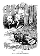"""Dogg'd. Winston. """"SHIP'S biscuit, I think."""" (Lloyd George as a terrier buries the Surplus biscuit as Churchill's Admiralty bulldog looks on)"""