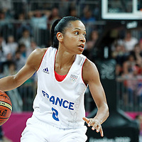 30 July 2012: Edwige Lawson-Wade of France brings the ball upcourt during the 74-70 Team France overtime victory over Team Australia, during the women's basketball preliminary, at the Basketball Arena, in London, Great Britain.