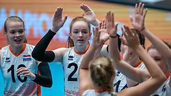 Iris Vos of Netherlands, Rixt van der Wal of Netherlands celebrate during United States - Netherlands, FIVB U20 Women's World Championship on July 15, 2021 in Rotterdam