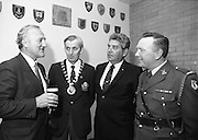 """Veterans Of Foreign Wars At Guinness..1986..28.05.1986.05.28.1986..28th May 1986..A group of """"Veterans of Foreign Wars"""" from Revere,Massachesetts,USA,who are on an eight day visit to Ireland were entertained at a reception at the Guinness Brewery,St James's Gate,Dublin. The trip was organised by the Organisation of National .Ex-Servicemen and Women...Picture shows Mr Paddy Kenna,Director,Guinness Ireland chatting with Mr Peter O'Reilly,Chairman.O.N.E,Mr Bob Parsons,Ex-US Navy and Sgt-Major Christopher McClean,Collins Barracks,Dublin at the reception."""