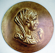Olympias (d316 BC) queen of Macedon, wife of Philip II, mother of Alexander the Great. From series of medallions commissioned by Emperor Caracalla (AD 212-217)