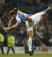 Photo: Aidan Ellis.<br /> Bolton Wanderers v Wigan Athletic. The Barclays Premiership. 04/11/2006.<br /> Bolton's Kevin Davis and Wigan's  Arjun de Zeeuw create a nice shape in the AIR