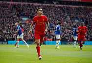 Philippe Coutinho of Liverpool celebrates scoring the fist goal during the English Premier League match at Anfield Stadium, Liverpool. Picture date: April 1st 2017. Pic credit should read: Simon Bellis/Sportimage