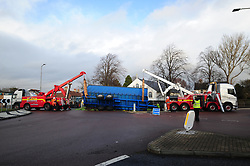 Sprout RTC, Rosyth, 16-12-2019<br /> <br /> Tractor's trailer overturned on the round a bout on Admiralty Road in Rosyth around 11:30 spilling it's load of Brussel sprouts<br /> <br /> (c) David Wardle | Edinburgh Elite media