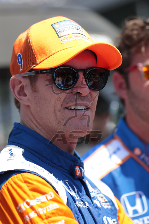 SCOTT DIXON (9) of New Zealand prepares to qualify for the Indianapolis 500 at Indianapolis Motor Speedway in Indianapolis, Indiana.