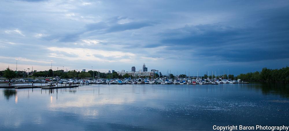 Cleveland skyline with Lake Erie at dusk