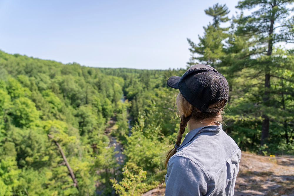 Exploring the Dead River Community Forest Preserve of the Upper Peninsula Land Conservancy near Marquette, Michigan.