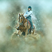 Digitally enhanced image A 15 year old girl in a western style Reining competition